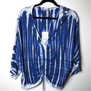 American Rag Cie Boho Tye Dye Shirt blue white